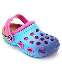 Fresko Circle Print Clog Shoes - Blue & Pink