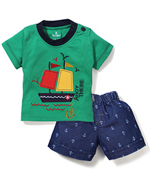 Child World Half Sleeves T-Shirt And Shorts Ahoy There Print - Green And Blue - 929496