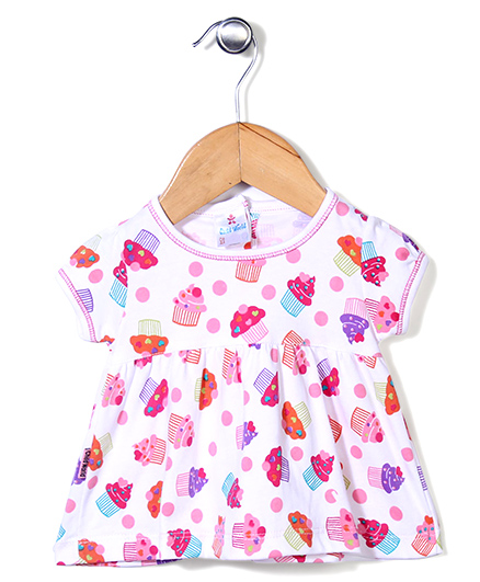 Child World Half Sleeves Cupcakes Print Frock - White