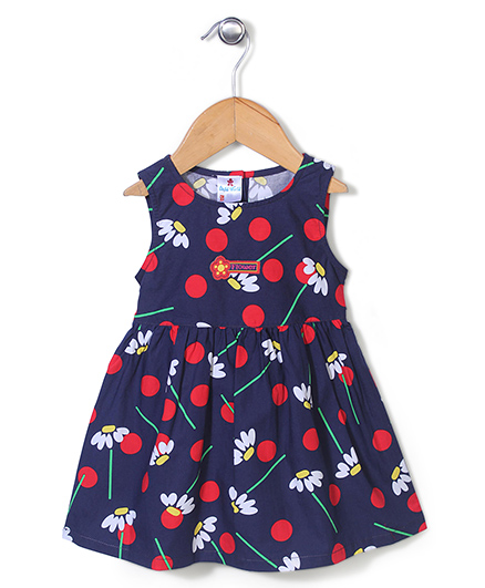 Child World Sleeveless Floral Print Frock - Navy Blue And Red