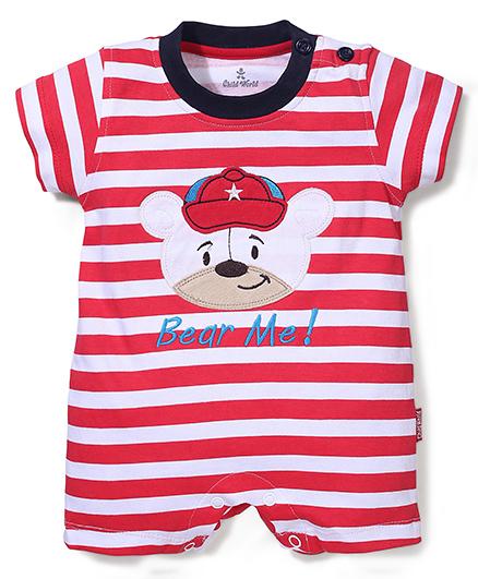 Child World Half Sleeves Stripes Romper Teddy Design - Red And White