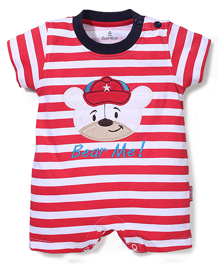 Child World Half Sleeves Stripes Romper Teddy Design - Red And White