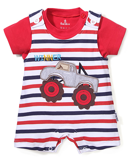 Child World Half Sleeves Dungaree Romper Car Embroidery - Red And White