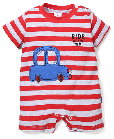 Child World Half Sleeves Stripes Romper Car Design - Red And White