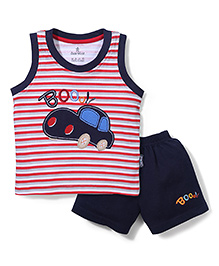 Child World Sleeveless T-Shirt And Shorts Car Embroidery - Red And Navy Blue