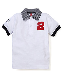 Spark Half Sleeves Polo T-Shirt No 2 Patch - White And Black