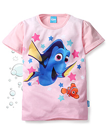 Disney by Babyhug Finding Dory Half Sleeves T-Shirt Dory and Nemo Print - Pink