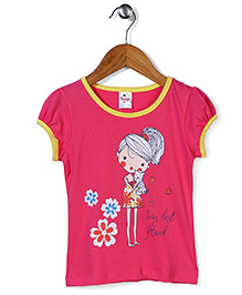 Tango Short Sleeves Top With My Best Friend Print - Pink