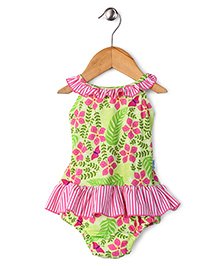 I Play Floral Design Print Swimsuit - Green & Pink