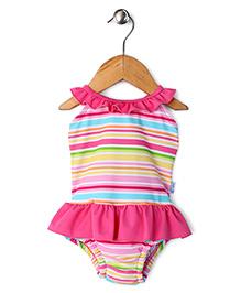 I Play Stripe Design Print Swimsuit - Multicolor