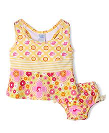 I Play 2 Piece Flower Print Tankini Swimsuit Set - Yellow