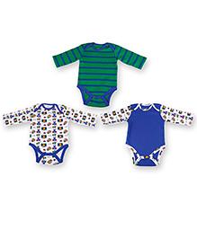 Kidsmode Full Sleeves Organic Cotton Multiprint Onesies - Pack Of 3