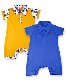 Kidsmode Organic Cotton Rompers Pack of 2 - Blue And Yellow