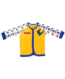 Kidsmode Organic Cotton Printed Contrast Neckline Vest - Yellow Blue White