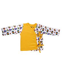 Kidsmode Full Sleeves Organic Cotton Jhabla - Yellow And White