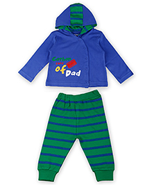 Kidsmode Organic Cotton Hooded T-Shirt And Leggings - Blue And Green