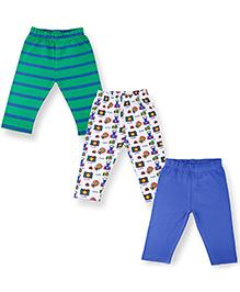 Kidsmode Organic Cotton Leggings Set of 3 - Green White Blue