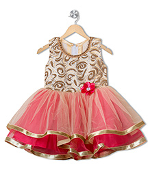 Treasure Trove Embroidered Party Wear Dress With Pearls - Pink