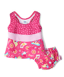 I Play 2 Piece Tankini Swimsuit Set - Pink
