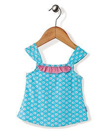 I Play Flower Print Swim Wear Top - Blue