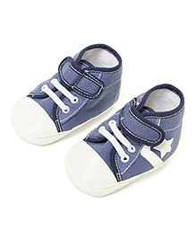 Little Hip Boutique Star Print Denim First Walkers - Blue