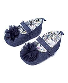 Little Hip Boutique Denim Sandals With Flower - Blue