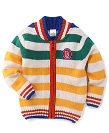 Babyhug Full Sleeves Sweater Horizontal Stripes And Badge Detail - Green & Yellow