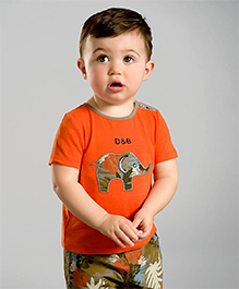 dave & bella T-Shirt And Shorts Elephant Patch - Orange