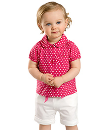 dave & bella Short Sleeves Stars Print Shirt And Shorts - Pink And White