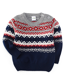 Babyhug Full Sleeves Sweater With Nordic Pattern - Navy Red Grey White