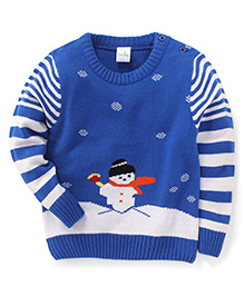 Babyhug Round Neck Sweater Snow Man Design - Blue