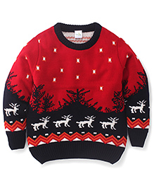 Babyhug Full Sleeves Sweater Reindeer Design At Hem - Red