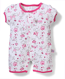 ToffyHouse Mouse Print Romper - White & Pink