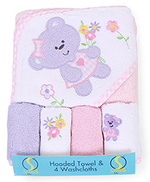 Spasilk Bear Printed Hooded Towel & Wash Cloths - Multicolour