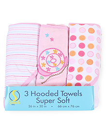 Spasilk Pack Of 3 Printed Hooded Towel - Multicolour