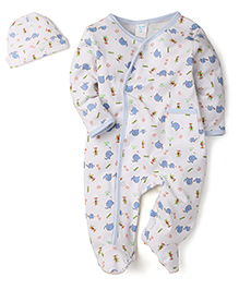 Spasilk Elephant Print Romper With Cap - White & Blue