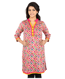 MomToBe Three Fourth Sleeves Maternity Kurti Geometric Print - Pink