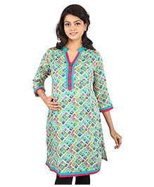 MomToBe Three Fourth Sleeves Maternity Kurti Geometric Print - Green