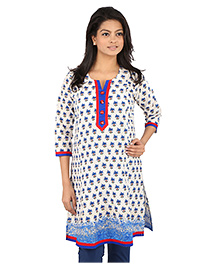 MomToBe Three Fourth Sleeves Printed Maternity Kurti - White And Blue
