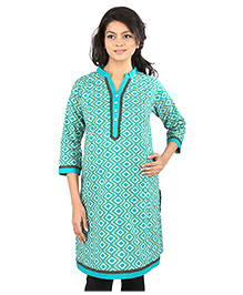 MomToBe Three Fourth Sleeves Printed Maternity Kurti With Contrast Color Detailing - Sea Green