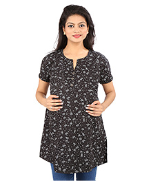 MomToBe Star Print Maternity Top - Black