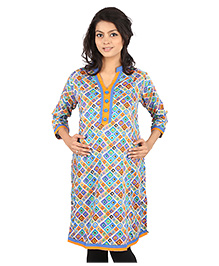 MomToBe Three Fourth Sleeves Maternity Kurti Geometric Print - Blue
