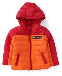 Babyhug Full Sleeves Hooded Jacket - Orange Red