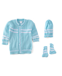 Babyhug Full Sleeves Sweater With Cap And Booties - Blue White