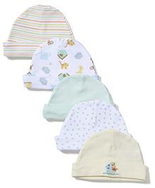 Spasilk Printed Pack Of 5 Caps -Multicolor