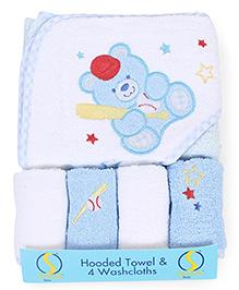 Spasilk Bear Print Hooded Towel & Wash Cloths - Blue