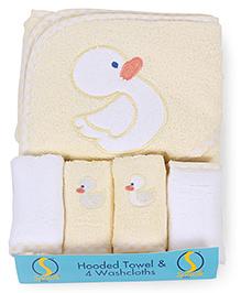 Spasilk Duck Print Hooded Towel & Wash Cloths - Yellow