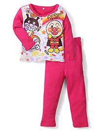 Superfie Cartoon Print  Full Sleeves Nightwear Set - Multicolour & Dark Pink