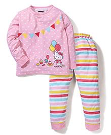 Superfie Kitty Print Full Sleeves Nightwear Set - Light Pink