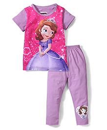 Superfie Princess Print Half Sleeves Nightwear Set - Pink